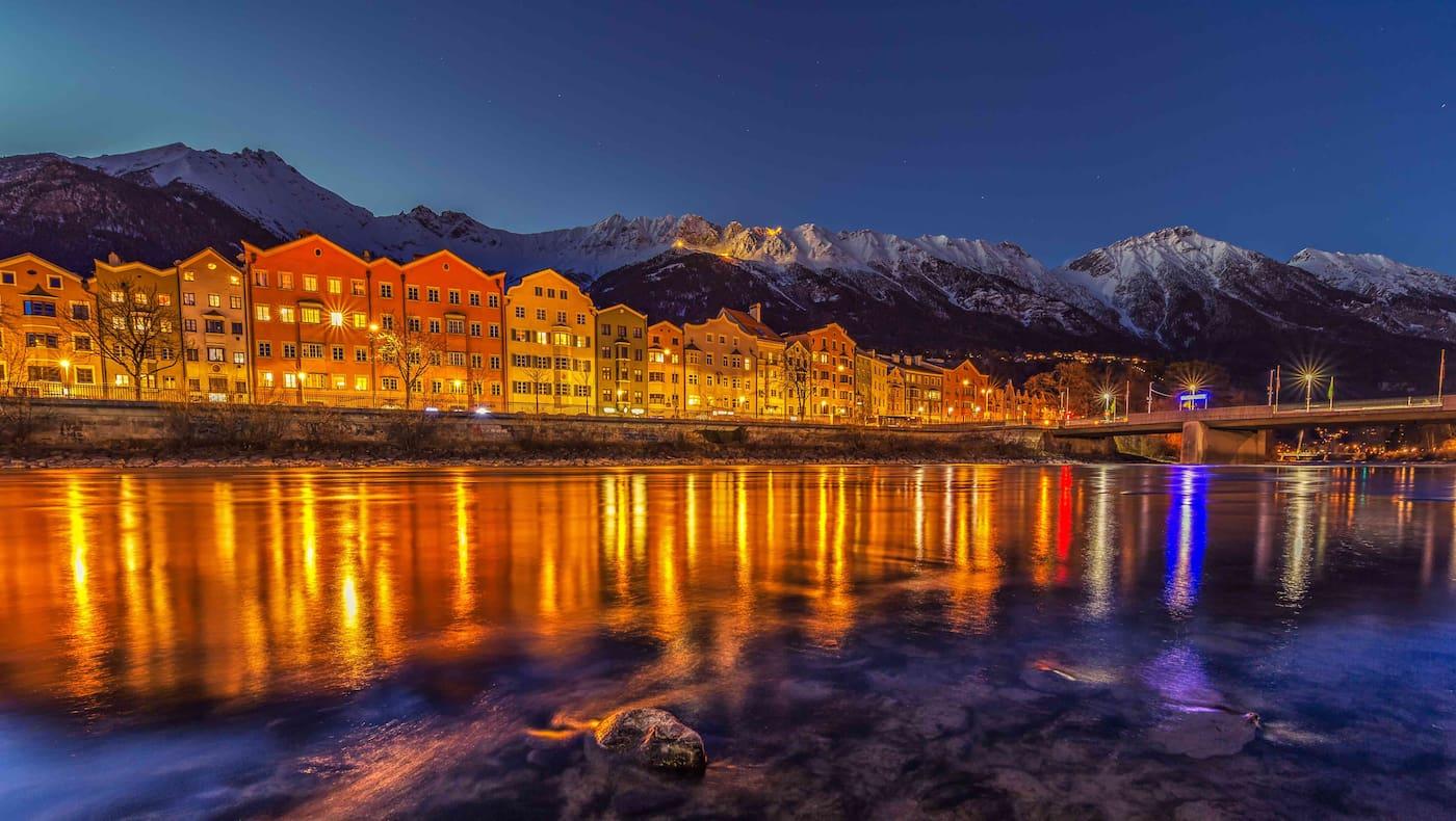 Winterliches Innsbruck bei Nacht