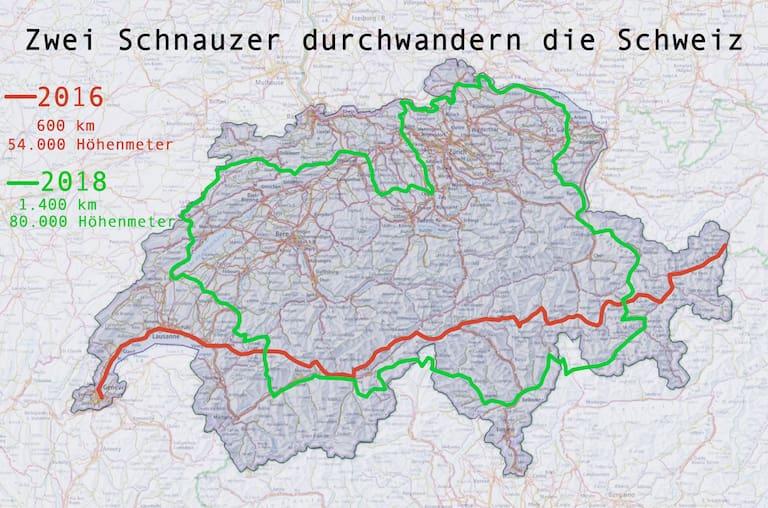 Zwei Schnauzer durchwandern die Schweiz