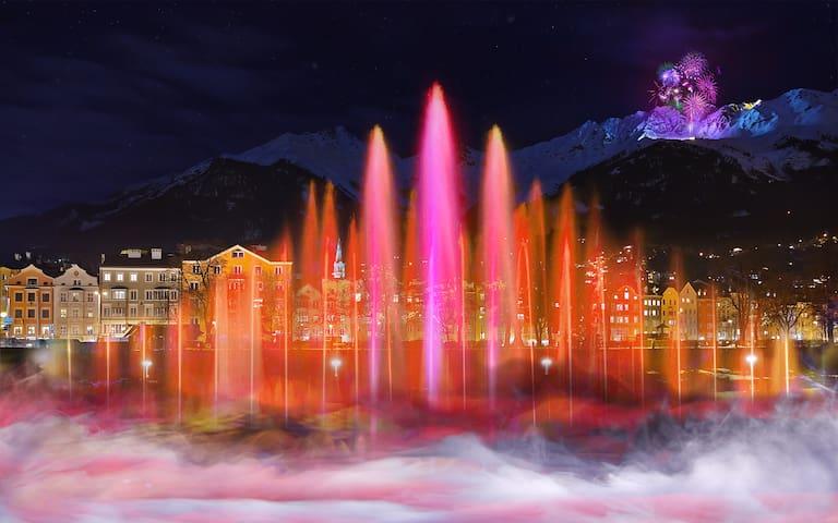 Sujetfoto der INNszenierung: Am Inn soll es eine Licht- und Wasserschow geben, das Feuerwerk auf der Seegrube bleibt aber bestehen.