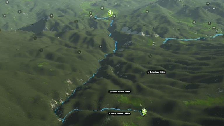 3D-Kartenausschnitt der Wanderung durch die Ötschergräben in Niederösterreich