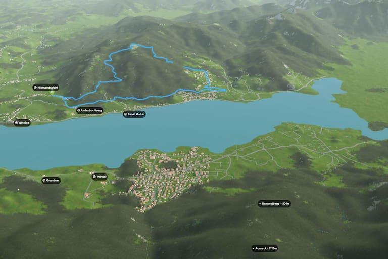 3D-Kartenausschnitt der Wanderung zur Neureuth am Tegernsee in Bayern