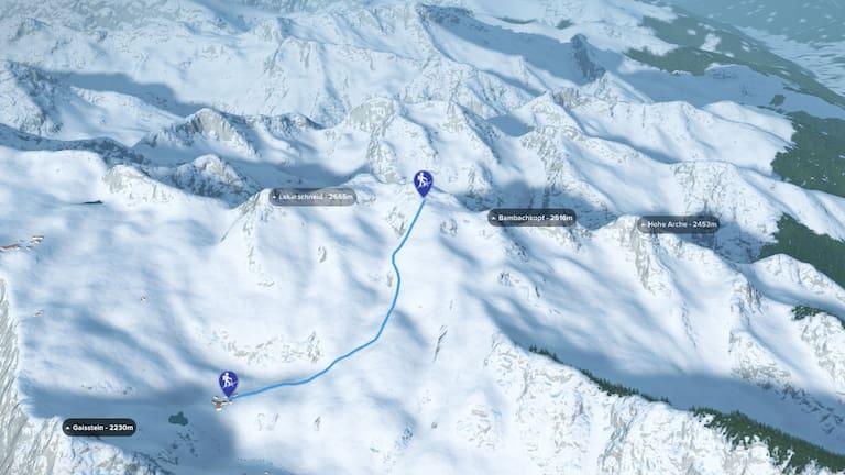 3D-Kartenausschnitt der Skitour auf den Tristkogel am Kitzsteinhorn in Salzburg