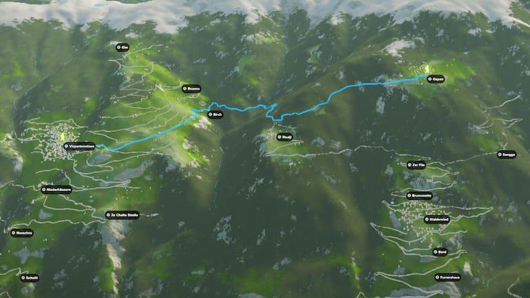 3D-Kartenausschnitt der Wanderung auf den Gspon im Wallis