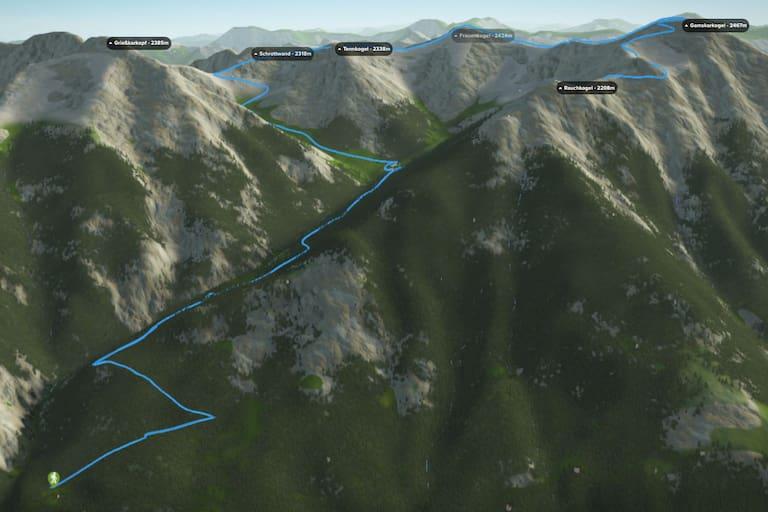 3D-Kartenausschnitt der Wanderung von Bad Hofgastein auf den Gamskarkogel in Salzburg