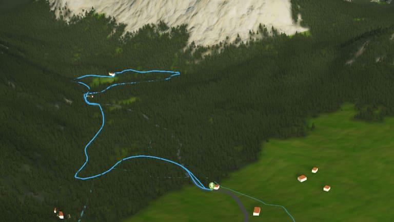 3D-Kartenausschnitt der Wanderung um den Grünen See in der Steiermark