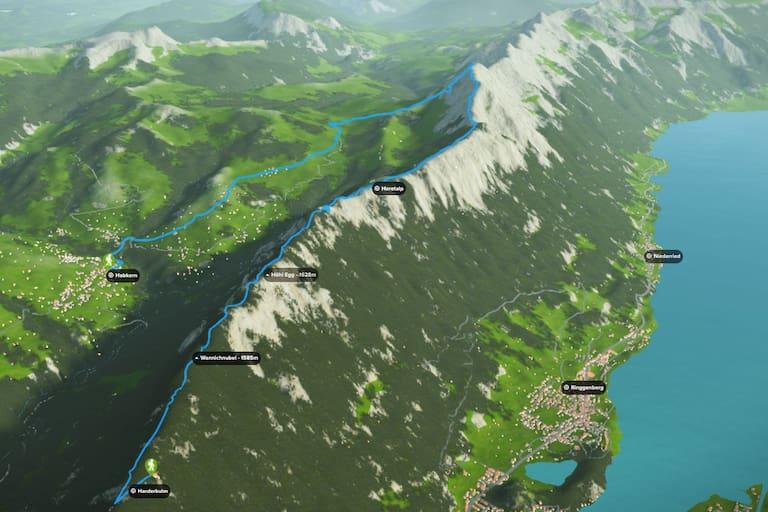 3D-Kartenausschnitt der Gratwanderung in den Emmentaler Alpen hoch über Interlaken im Kanton Bern