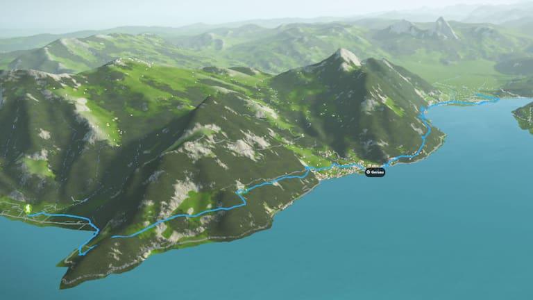 3D-Kartenausschnitt des Waldstätter Wegs von Brunnen in der Schwyz bis Vitznau in Luzern