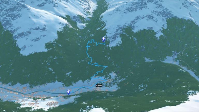 3D-Kartenausschnitt der Winterwanderung zur Brunnenbergalm bei Sölden in Tirol