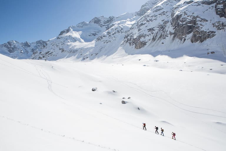 Unterwegs zum Gipfel des Monte Rosso (3.087 m) in der Berninagruppe