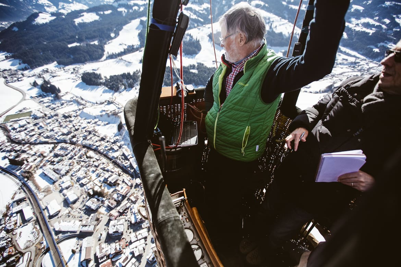 Aussicht vom Korb des Heißluftballons