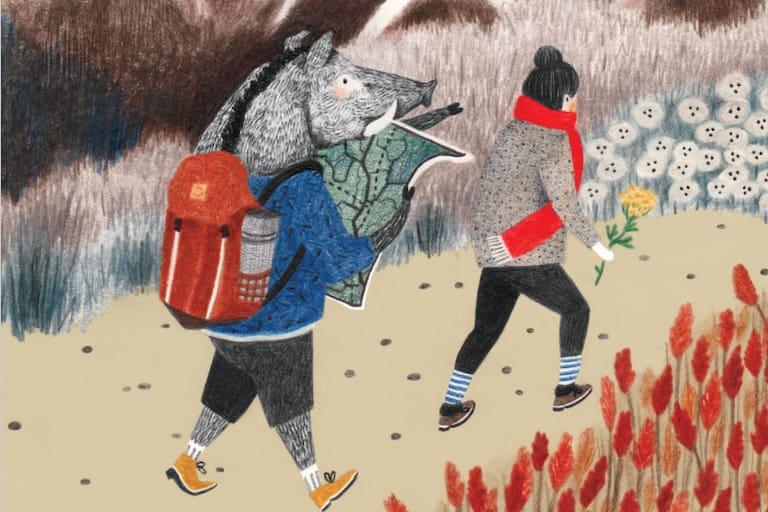 Wandern, gezeichnet