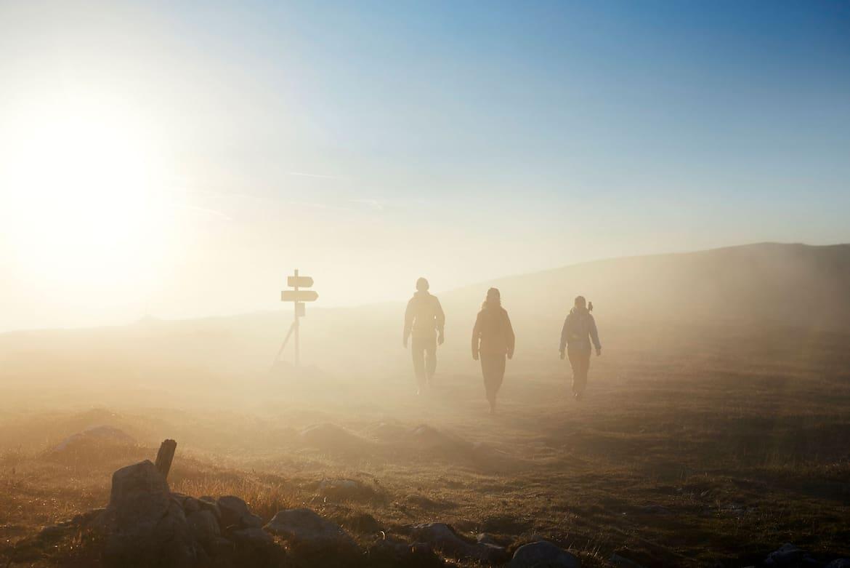 Eine Stimmung wie in einem Heldenepos herrscht frühmorgens beim Aufstieg zur Heukuppe.