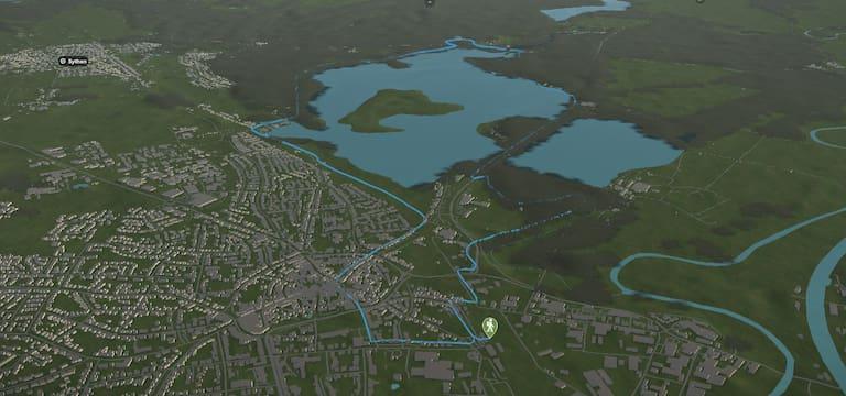 3D-Kartenausschnitt der stadtnahen Wanderung rund um den Halterner Stausee