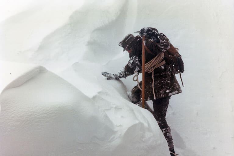 Beim Aufstieg auf den Schweizer Berg Säntis