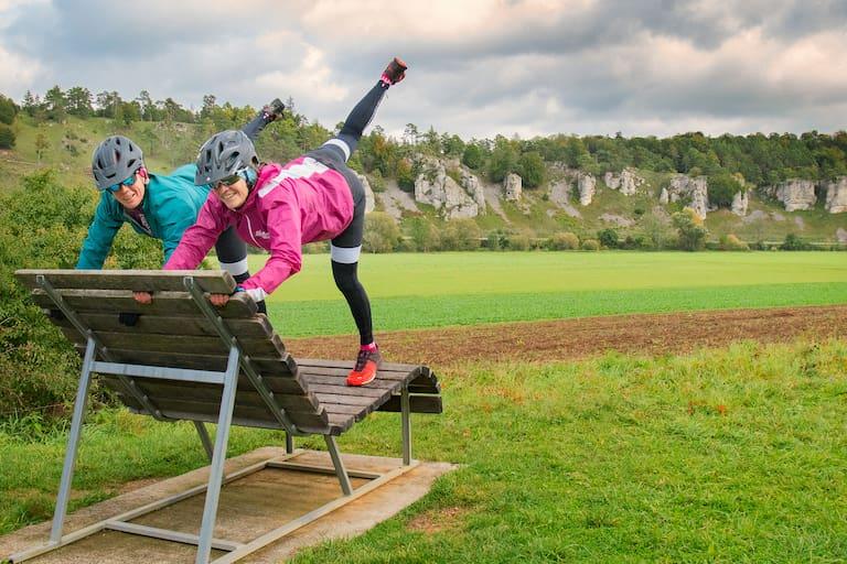 Corinne und Fränzi aus der Schweiz haben Franken auf dem Bike erkundet