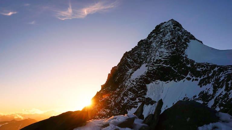 Blick auf den Großglockner bei Sonnenuntergang