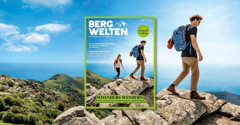 Jetzt überall im Zeitschriftenhandel – das Bergwelten Magazin (Februar/März 2019)