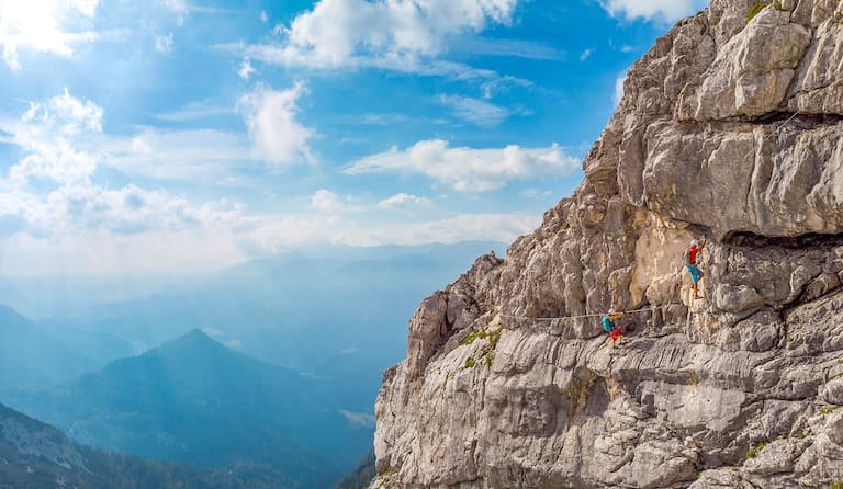 Über den Bert Rinesch-Klettersteig auf den Gipfel des Grossen Priel