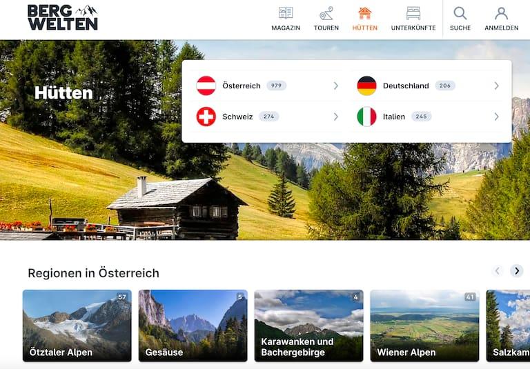 Die neue Hütten-Seite auf Bergwelten.com