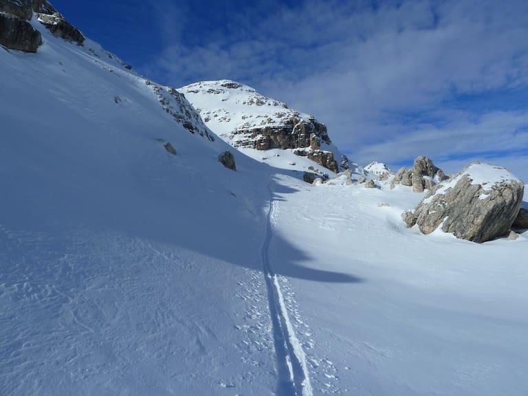 Skitour: Auf dem Weg zur Östlichen Puezspitze in den Dolomiten