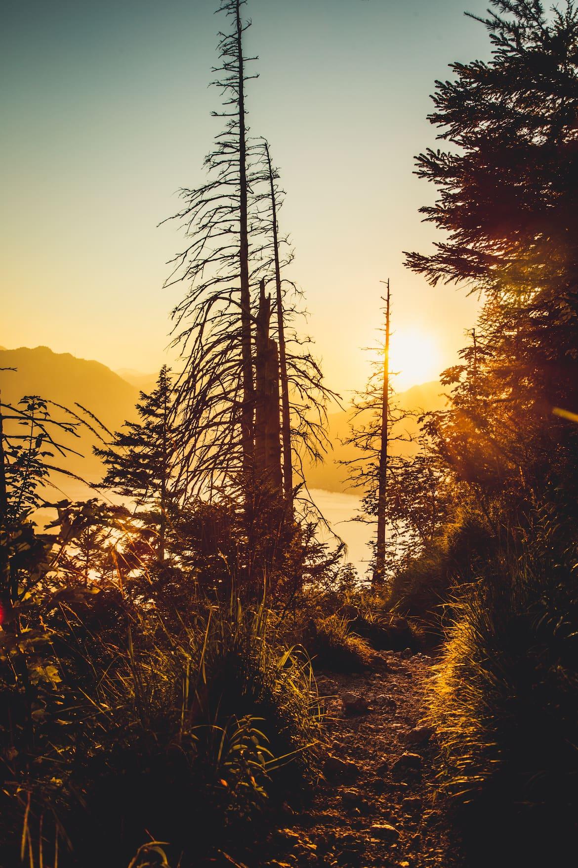 Sonnenuntergang beim Abstieg vom Schoberstein