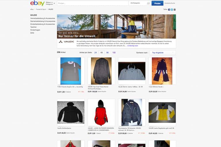 Re-Commerce Shop von Vaude und Ebay