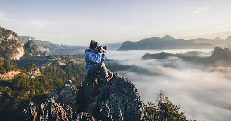 Fotograf auf Berg