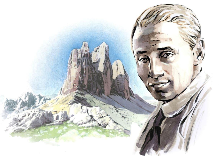 Paul Preuß vor den Südtiroler Drei Zinnen