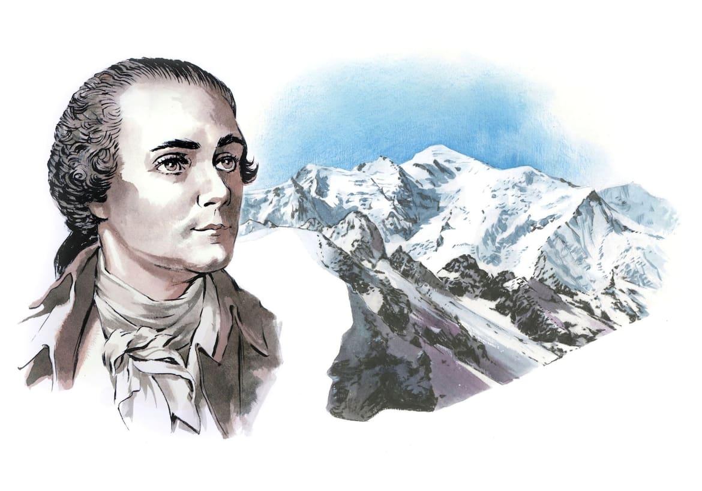 Horace-Bénédict de Saussure und dahinter die Berge