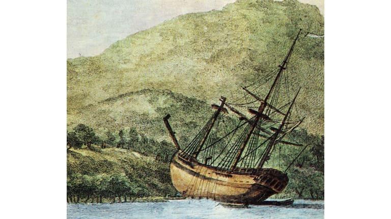 Zeichnung von 1770: James Cooks Schiff im australischen Queensland
