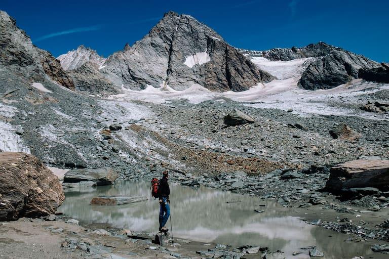 Der Blick zurück zum höchsten berg Österreichs
