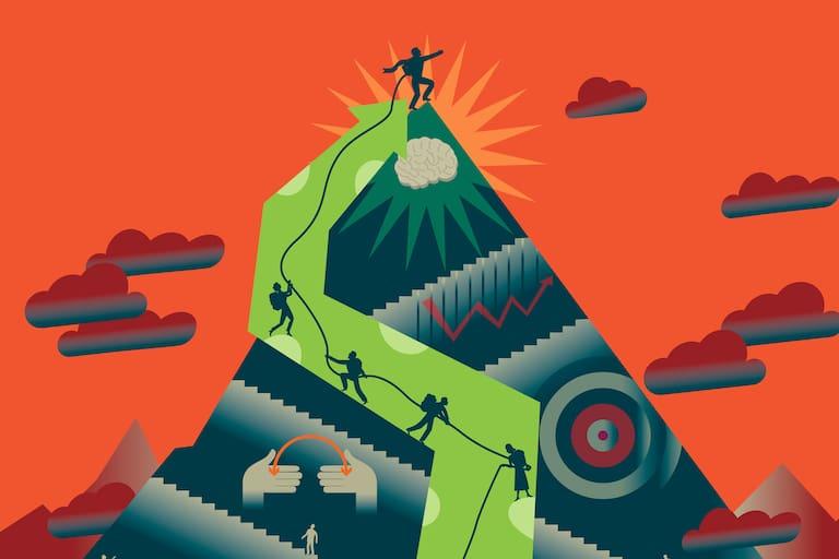 Grafik einer Bergbesteigung: Mit oder ohne Bergführer?