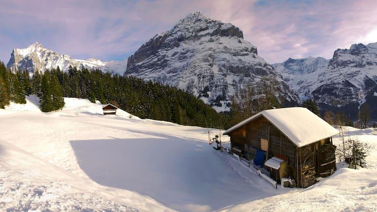 Blick in die winterliche Landschaft der Jungfrau-Region rund um Grindelwald