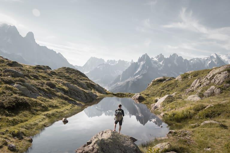 Wanderer vor dem Lac Blanc