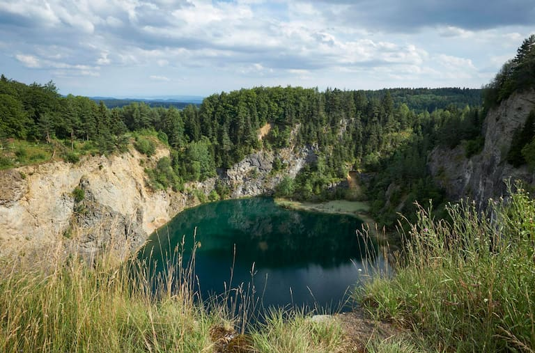 Vom einstigen Vulkan ist nicht mehr viel übrig geblieben. Der Krater Höwenegg bei Immendingen