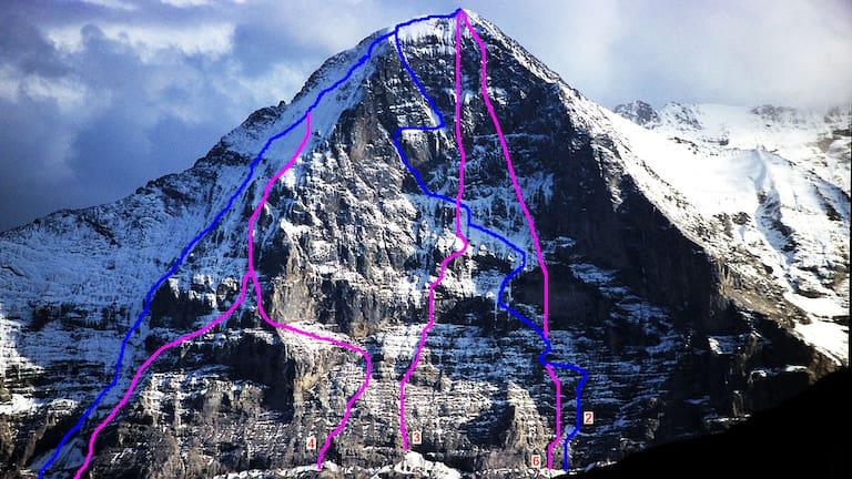 Eiger Nordwand: Routen und John-Harlin-Direttissima