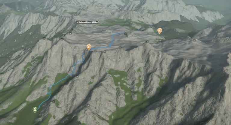 3D-Kartenausschnitt der Wasserwanderung zum Kärlingerhaus und Funtensee in den Berchtesgadener Alpen