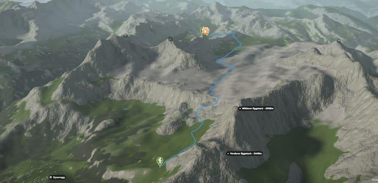 3D-Kartenausschnitt der Wanderung auf die Glattalphütte von Braunwald