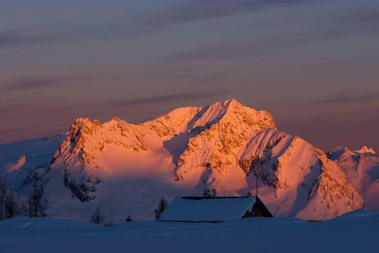 Alpenglühen im Toten Gebirge: Großer Priel in Oberösterreich