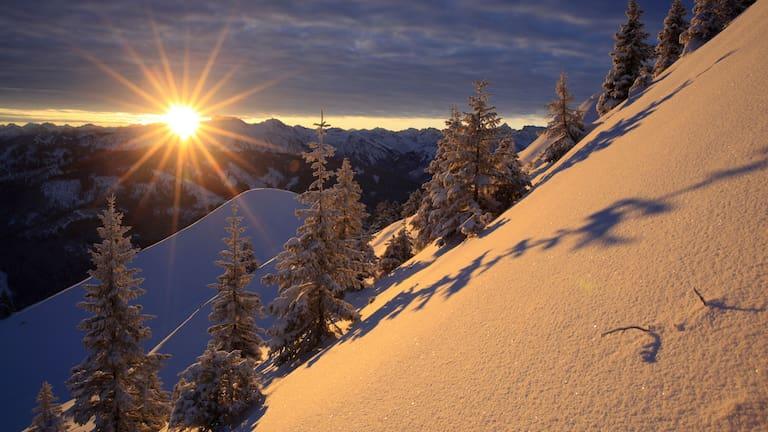 Winterlandschaft am Grünten in den Allgäuer Alpen in Bayern