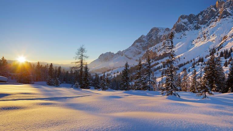 Blick vom Hochkeil auf den Hochkönig im winterlichen Salzburger Land