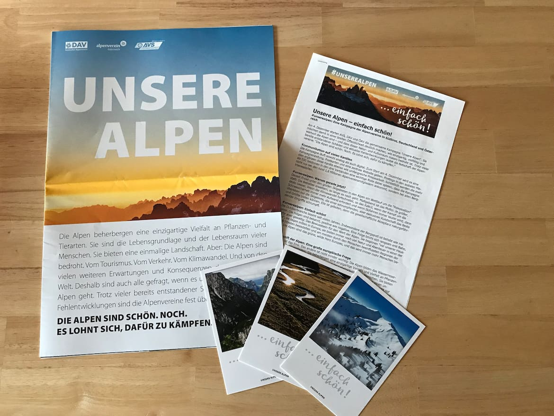 Analoges Infomaterial kann jederzeit bei den Alpenvereinen angefordert werden.