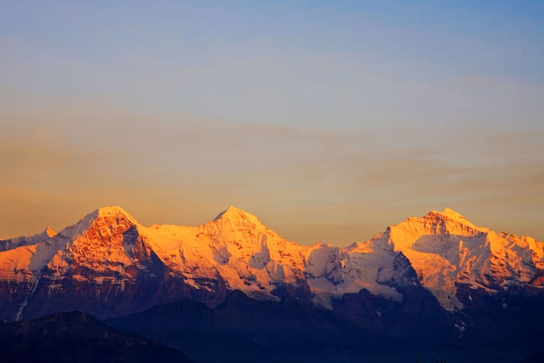 Dreiergruppe: Eiger, Mönch und Jungfrau in den Berner Alpen in der Schweiz