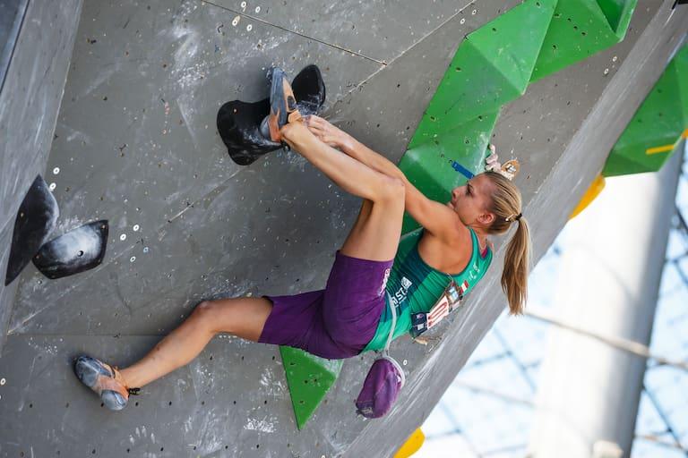 Katharina Saurwein beim Boulderweltcup 2016 in München