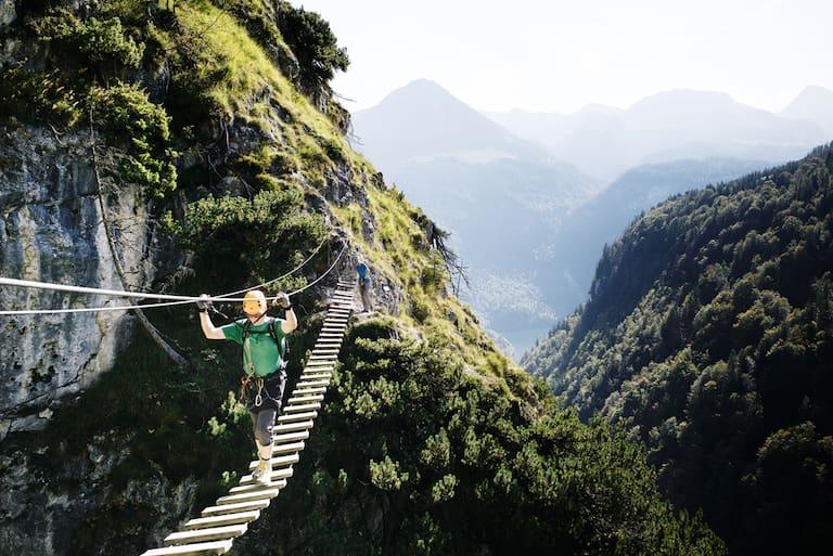 Grünstein Klettersteig mit Hängebrücke
