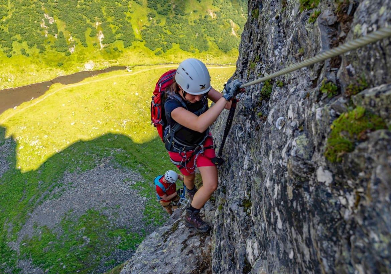 Klettern in den steileren Passagen