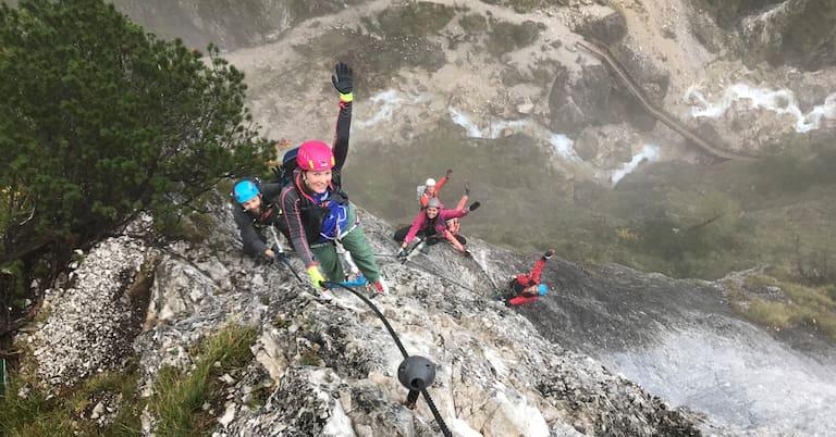 Spektakuläre Momente am Rosina-Kletterseig in der Silberkarklamm