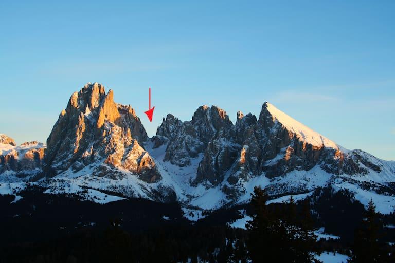 Langkofelscharte zwischen Langkofel und Fünffingerspitze in den Dolomiten