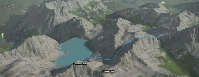 3D-Kartenausschnitt der Wasserwanderung am Lünersee in Vorarlberg