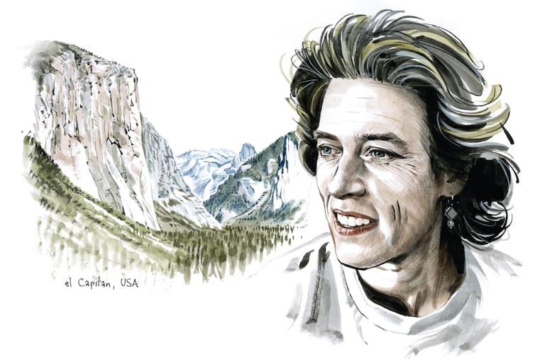 """Lynn Hill und der El Capitan mit der """"befreiten"""" Nose"""